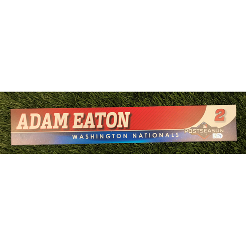 Photo of Game-Used Adam Eaton 2019 Postseason Locker Tag
