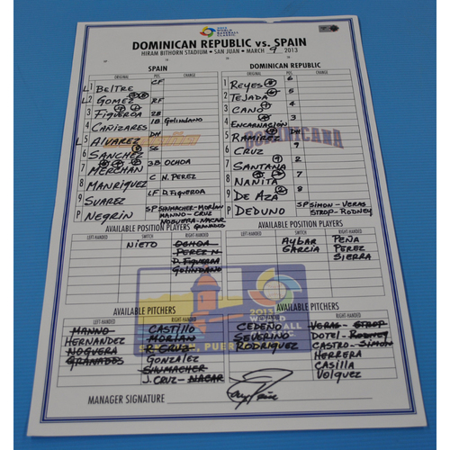 Photo of Game-Used Lineup Card - 2013 World Baseball Classic - Dominican Republic vs. Spain - 3/9/2013 - Dominican Republic Dugout