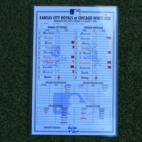 Photo of Game-Used Lineup Card: Yoan Moncada 14th Home Run of 2018 Season (KC @ CWS - 8/1/18)