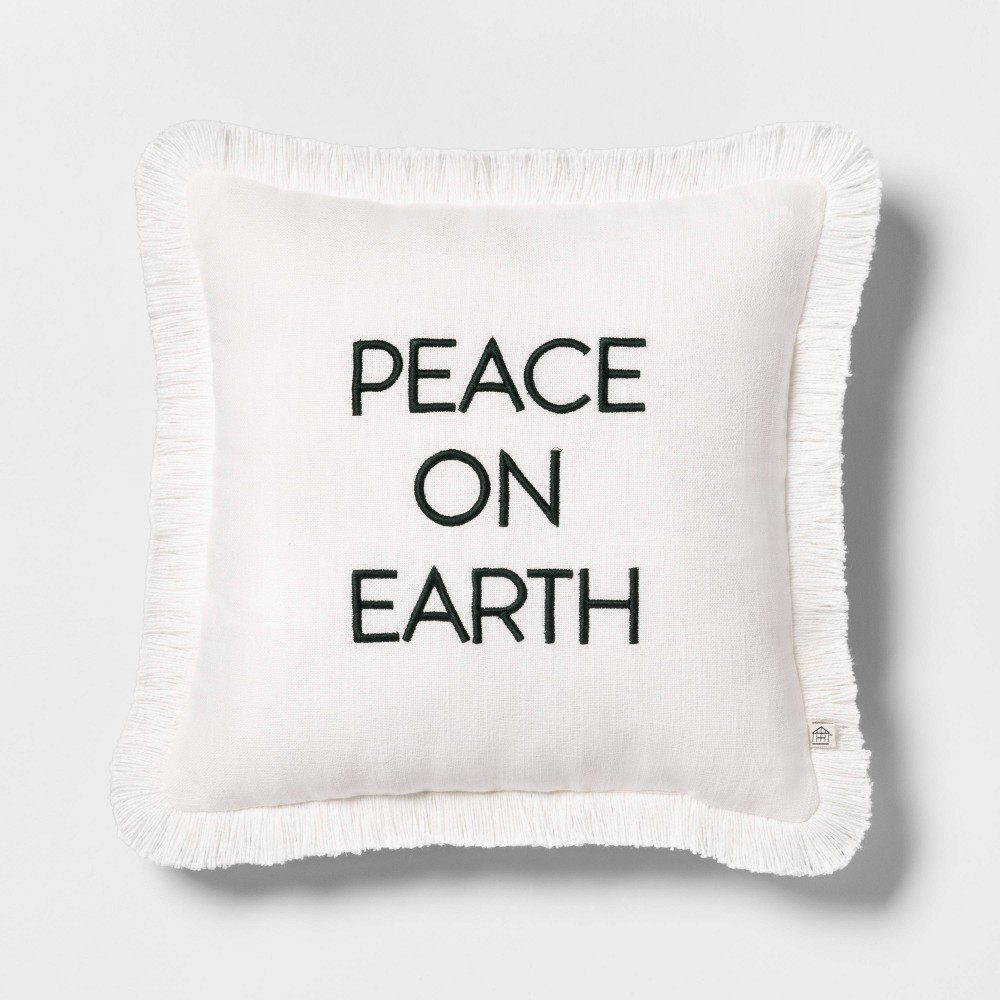 Photo of Peace on Earth Toss Pillow Cream with Green Embroidery - Hearth & Hand with Magnolia