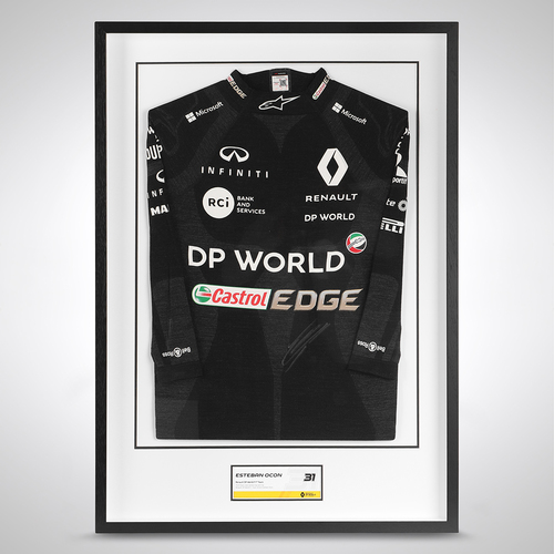 Photo of Esteban Ocon 2020 Framed Signed Race-worn Nomex - Bahrain GP