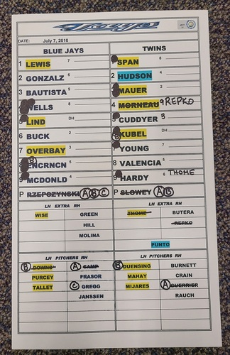 Photo of Authenticated Game Used Lineup Card (July 7, 2010 vs MIN): 22nd HR of Season for Jose Bautista (Franchise Record 54 HR Season)