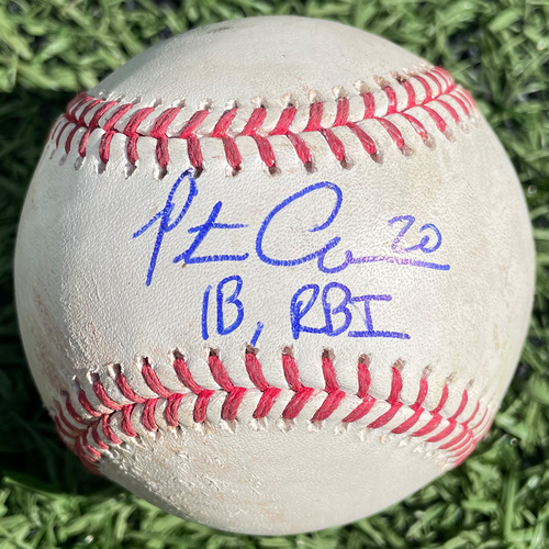 Pete Alonso Autographed Game Used Baseball - Robert Dugger to Amed Rosario - Single - Robert Dugger to Michael Conforto - Walk - Robert Dugger to Pete Alonso - Single, RBI - Robert Dugger to J.D. Davis - Ball - 5th Inning - Mets vs. Marlins - 8/5/19