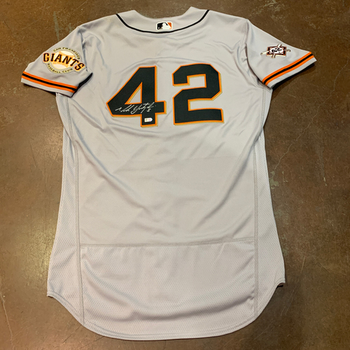 Photo of 2021 Autographed Game Used Jackie Robinson 42 Day Road Jersey worn by #5(42) Mike Yastrzemski on 4/16 @ MIA - 2 for 4 (2B & 3B) - Size 42