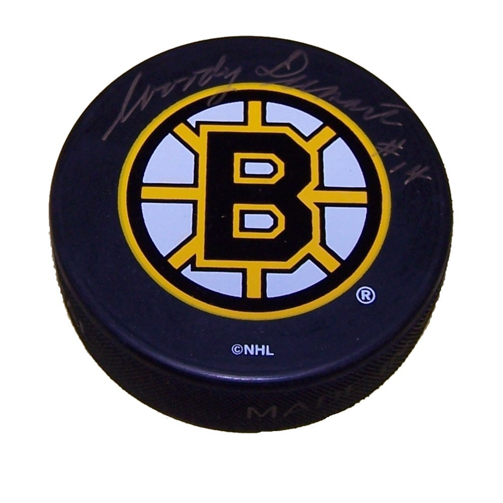 Woody Dumart (deceased)  Autographed Boston Bruins Puck