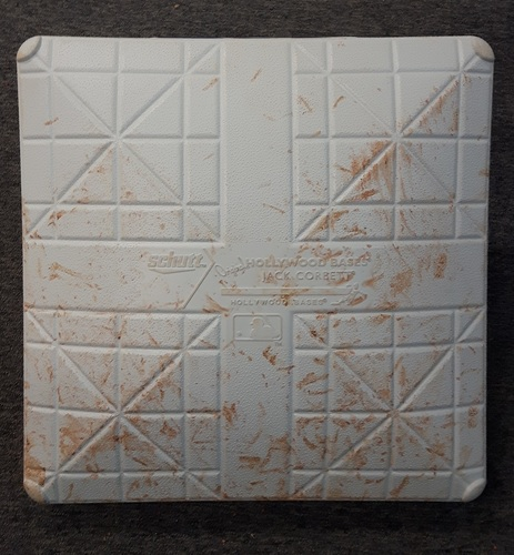 Photo of Authenticated Game Used Base - 3rd Base for Innings 1-5: TB at TOR (Sept. 25, 2015). Donaldson with 40th HR of season and R.A. Dickey's 100th career win. Clinched 1st postseason berth in 22 years.