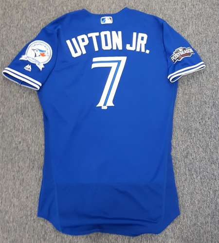 Photo of Authenticated Game Used 2016 Postseason Jersey - #7 Melvin Upton (October 4 and 9: Wild Card Game and ALDS Game 3). Upton was 0-for-1 in the Wild Card Game and 1-for-2 with 1 double in ALDS Game 3. Size 42.