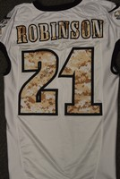 EAGLES - PATRICK ROBINSON SALUTE TO SERVICE SIGNED PRACTICE WORN JERSEY NOVEMBER 2017 WITH CAMO NUMBERS