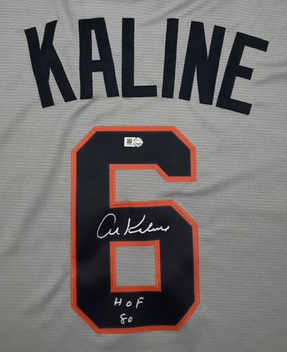 "Photo of Al Kaline ""HOF 80"" Autographed Grey Tigers Jersey"