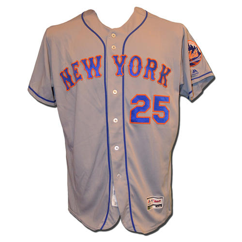 Photo of Ricky Bones #25 - Game Used Road Grey Jersey - Mets Clinch Wild Card Berth - Mets vs. Phillies - 10/1/16