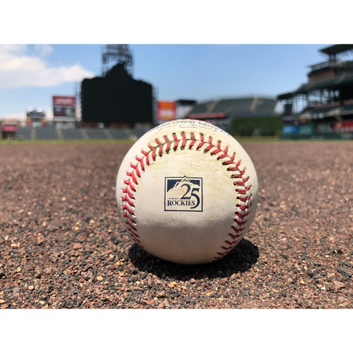 Photo of Colorado Rockies Player Collected Baseball - Pitcher: Christian Bergman, Batter: Charlie Blackmon - Home Run (19) to Center Field - July 13, 2018