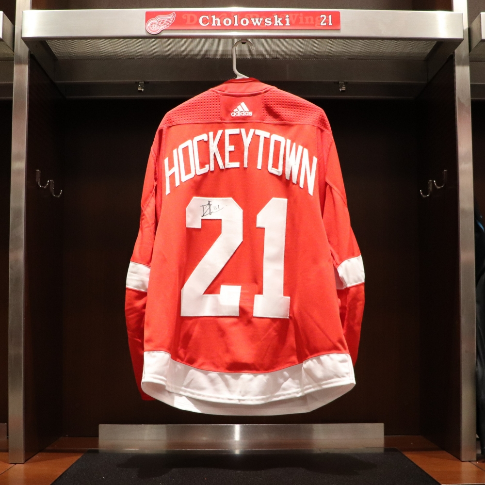 Dennis Cholowski (#21)- Red Wings 2018 Home Opener Hockeytown Warm-Up Jersey