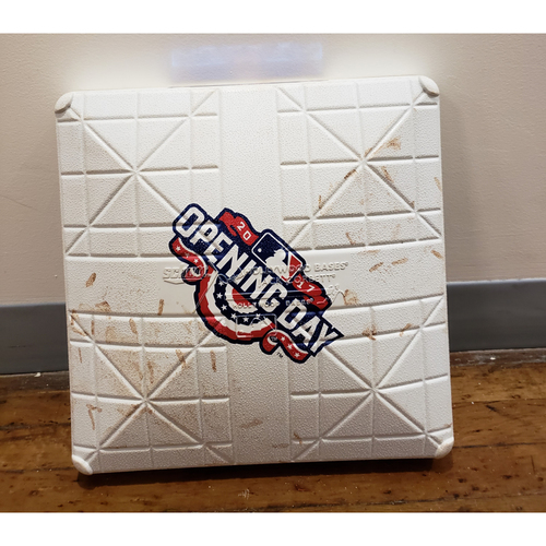 Photo of Game-Used Opening Day Base: Kansas City Royals at Minnesota Twins - 2nd Base Used in Innings 3-4 - 4/3/17