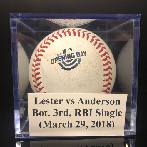 Photo of Game-Used Baseball: Lester vs Anderson, Bot. 3rd, RBI Single (March 29, 2018)