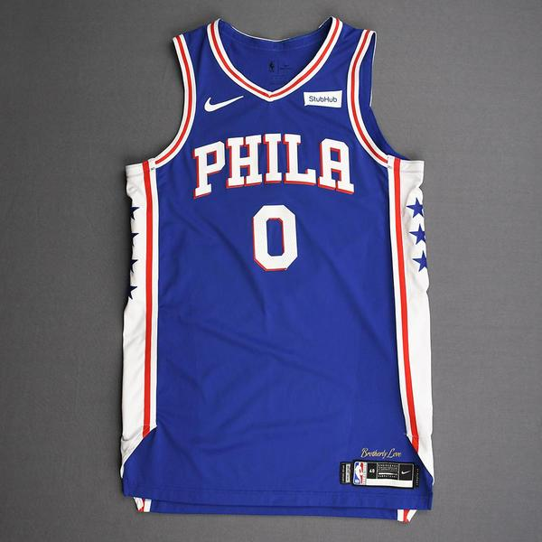 Image of Josh Richardson - Philadelphia 76ers - Kia NBA Tip-Off 2019 - Game-Worn Icon Edition Jersey - 76ers' Debut