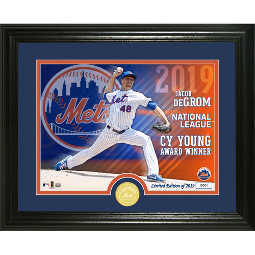 Photo of Jacob deGrom 2019 NL Cy Young Bronze Coin Photo Mint
