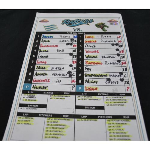 Photo of Arizona Fall League - Game-Used Line Up Card - East Team - 10/12/2019