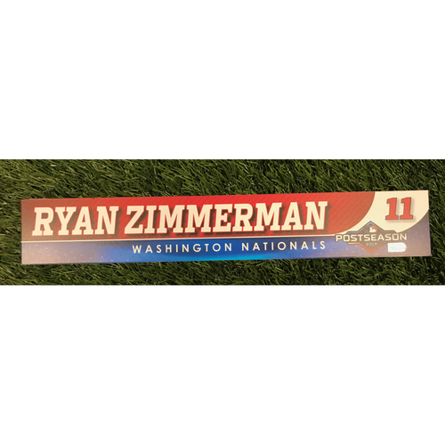 Photo of Game-Used Ryan Zimmerman 2019 Postseason Locker Tag