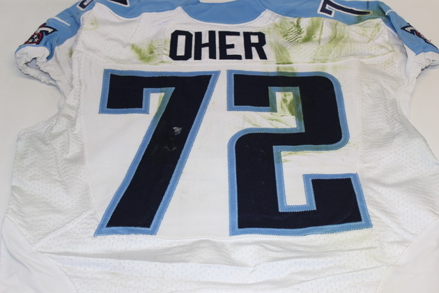 NFL Auction | MICHAEL OHER GAME WORN TITANS JERSEY (OCTOBER 12, 2014)