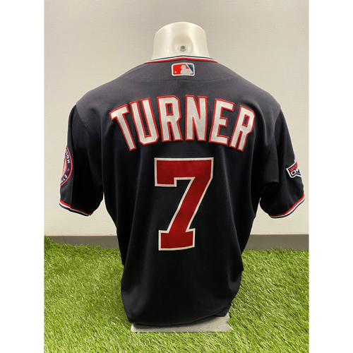 Photo of Trea Turner 2020 Game-Used World Series Champions Navy Script Jersey