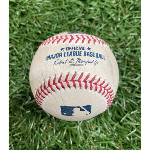 Photo of Game Used Baseball: Manuel Margot RBI single off Cole Sulser - Kevin Kiermaier Scores - Bottom 7 - June 11, 2021 v BAL