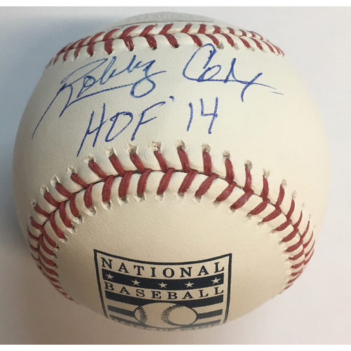 "Photo of Bobby Cox ""HOF 14"" Autographed HOF Logo Baseball"