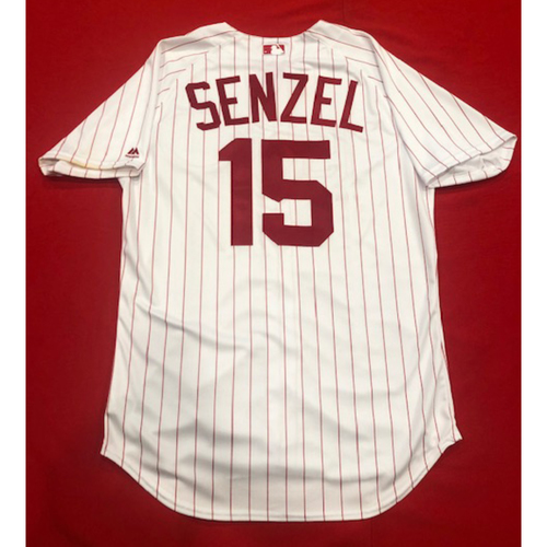 Photo of Nick Senzel -- 1967 Throwback Jersey (Starting CF) -- Game-Used for Rockies vs. Reds on July 28, 2019 -- Jersey Size: 46