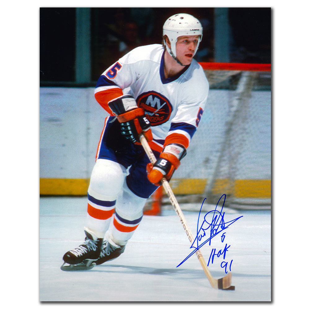 Denis Potvin New York Islanders WHITE JERSEY Autographed 8x10