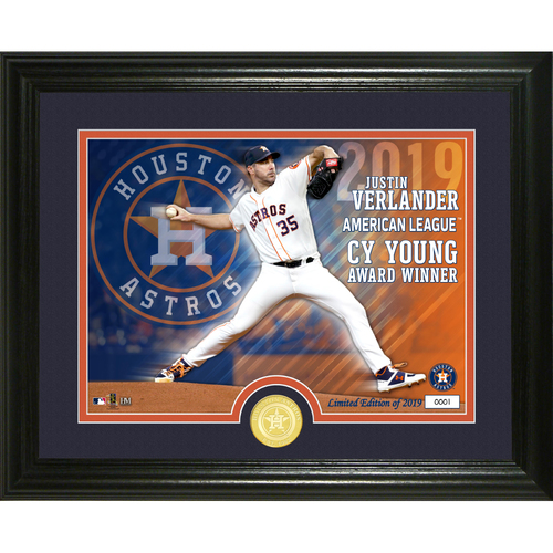 Photo of Justin Verlander 2019 AL Cy Young Bronze Coin Photo Mint