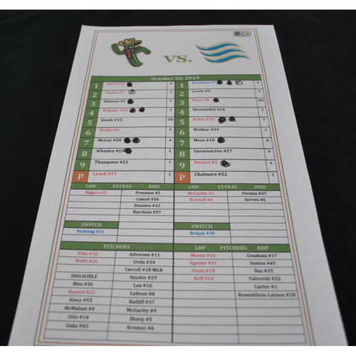 Photo of Arizona Fall League - Game-Used Line Up Card - Surprise Saguaros - 10/26/2019