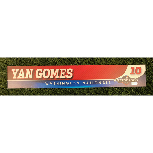 Photo of Game-Used Yan Gomes 2019 Postseason Locker Tag