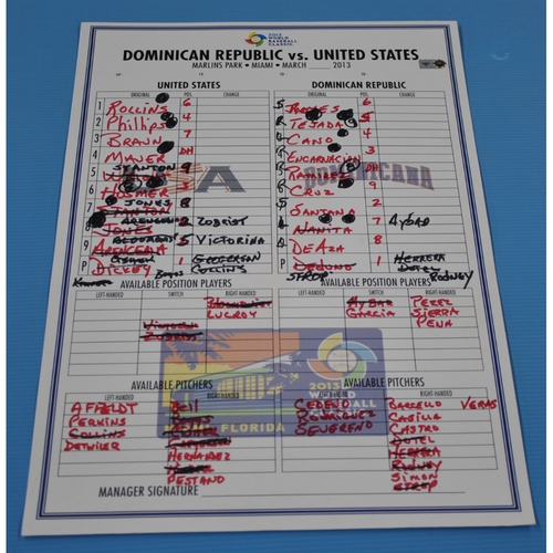 Photo of Game-Used Lineup Card - 2013 World Baseball Classic - Dominican Republic vs. USA - 3/16/2013 - USA Dugout