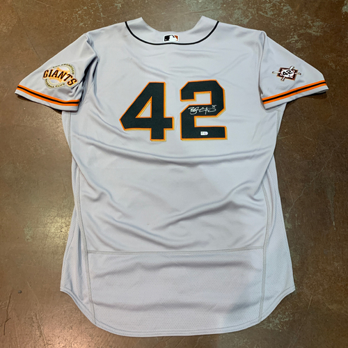 Photo of 2021 Autographed Game Used Jackie Robinson 42 Day Road Jersey worn by #35 (42) Brandon Crawford on 4/16 @ MIA - Size 48