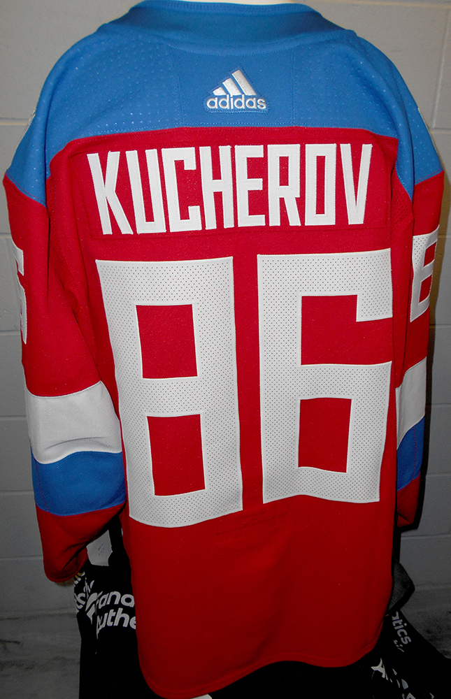 new style 279c6 89b78 Nikita Kucherov Tampa Bay Lightning Game-Worn Home World Cup ...