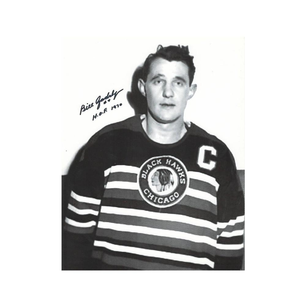 BILL GADSBY Signed Chicago Blackhawks 8 X 10 Photo W/ HOF Inscription - 70272 A