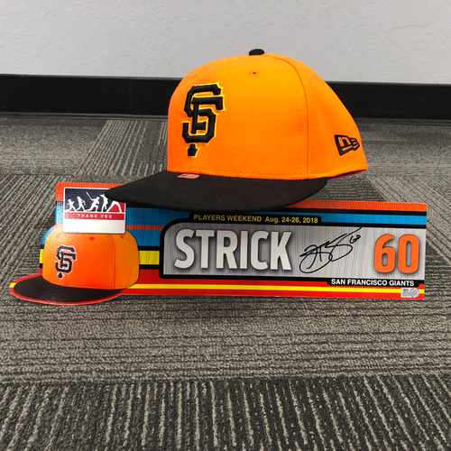 "Photo of San Francisco Giants - 2018 Players Weekend Game Used Cap & Autographed ""Strick"" Locker Tag - #60 Hunter Strickland - Cap Size 7 1/4"