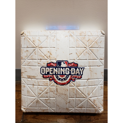 Photo of Game-Used Opening Day Base: Atlanta Braves at Pittsburgh Pirates - 3rd Base Used in Innings 7-9 - 4/7/17