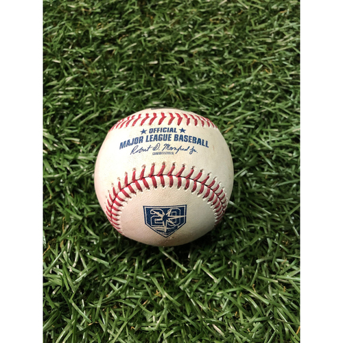 20th Anniversary Game Used Baseball: Mike Trout foul ball off Ryne Stanek - August 1, 2018 v LAA