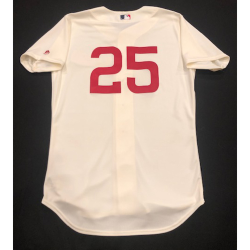 Photo of David Bell -- Game-Used 1936 Throwback Jersey -- Cubs vs. Reds on June 30, 2019 -- Jersey Size 44