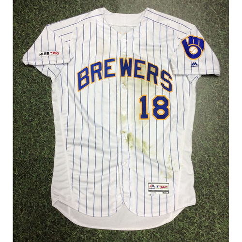 Photo of Keston Hiura 05/24/19 Game-Used Royal Ball & Glove Jersey - 1st Career Stolen Base Game - Size 46