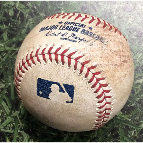 Photo of Game-Used Baseball WSH@MIL 05/08/19 - Brandon Woodruff - Brian Dozier: Single