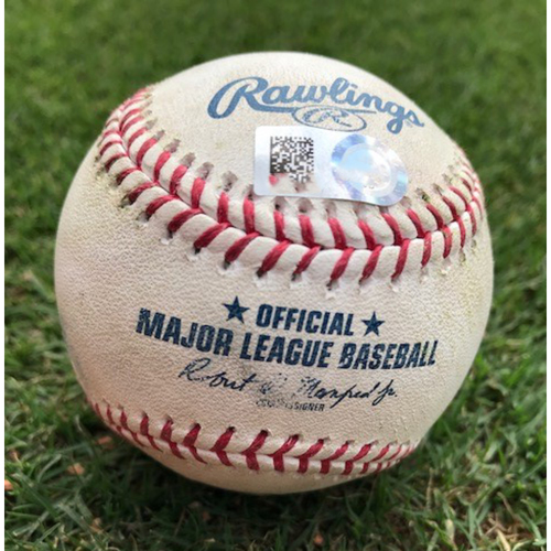 Photo of Final Season Game-Used Baseball - Jeff Mathis Single - 8/2/19