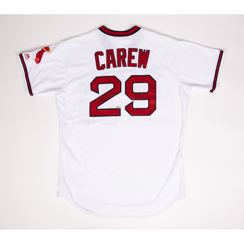 Photo of Rod Carew Autographed & Inscribed 1970's Era Throwback Jersey