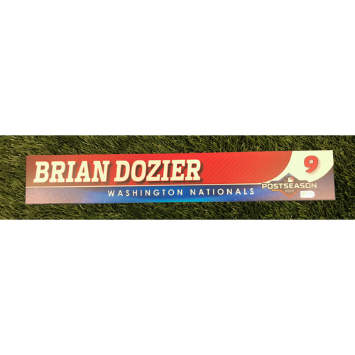 Photo of Game-Used Brian Dozier 2019 Postseason Locker Tag