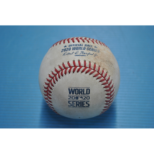 Photo of Game-Used Baseball - 2020 World Series - Los Angeles Dodgers vs. Tampa Bay Rays - Game 3 - Pitcher: Charlie Morton, Batter: Corey Seager (Hit by Pitch) - Top 3