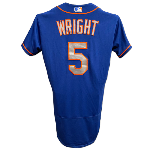 Photo of David Wright #5 - Team Issued Blue Alt. Road Jersey - 2017 Season