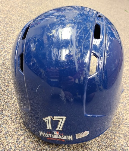 Photo of Authenticated Game Used Postseason Helmet: #17 Ryan Goins (Oct. 17 and 18, 2016: ALCS Games 3 and 4). Size 7 1/4.