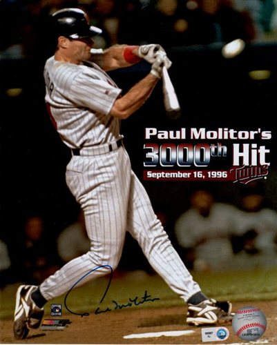 Paul Molitor 3000th Hit Autographed 8x10