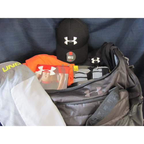 UMPS CARE AUCTION: Under Armour Gym Bag and Workout Apparel Package