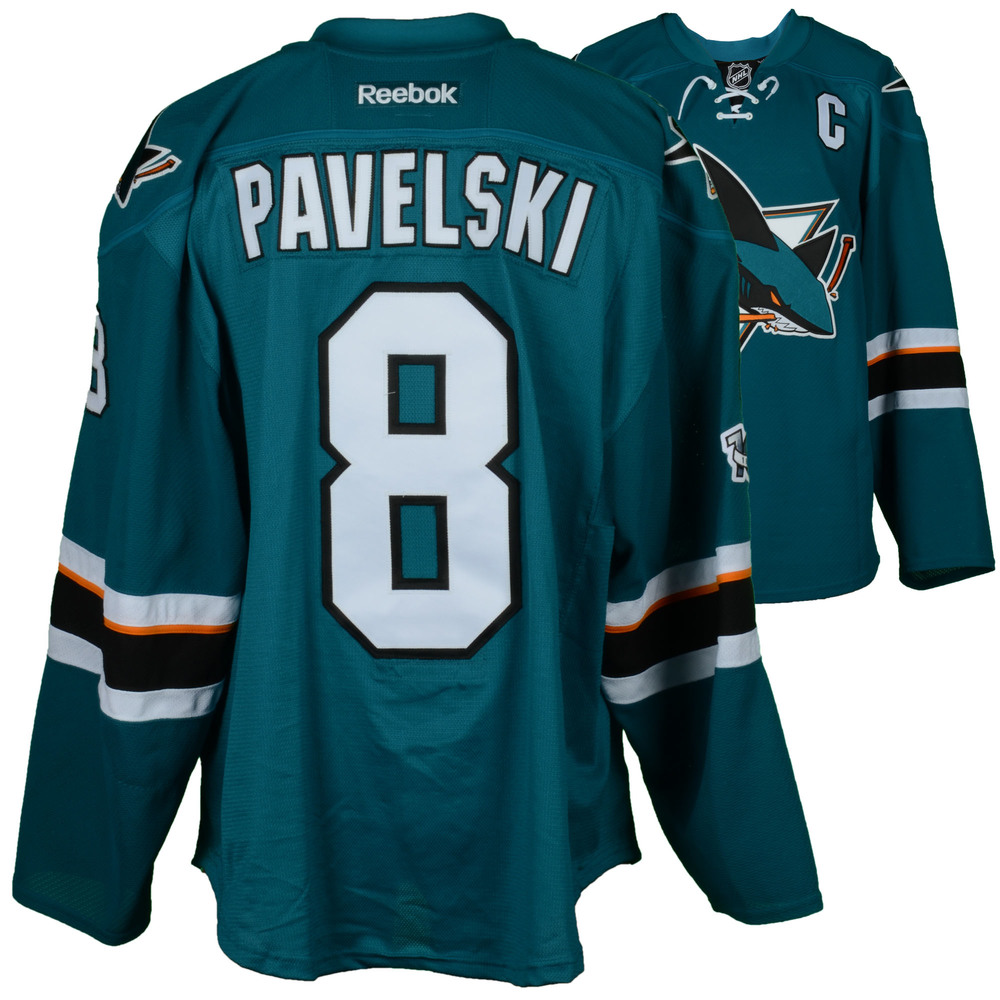 wholesale dealer dad71 48200 Joe Pavelski San Jose Sharks Game-Used 2017 Season Teal #8 ...